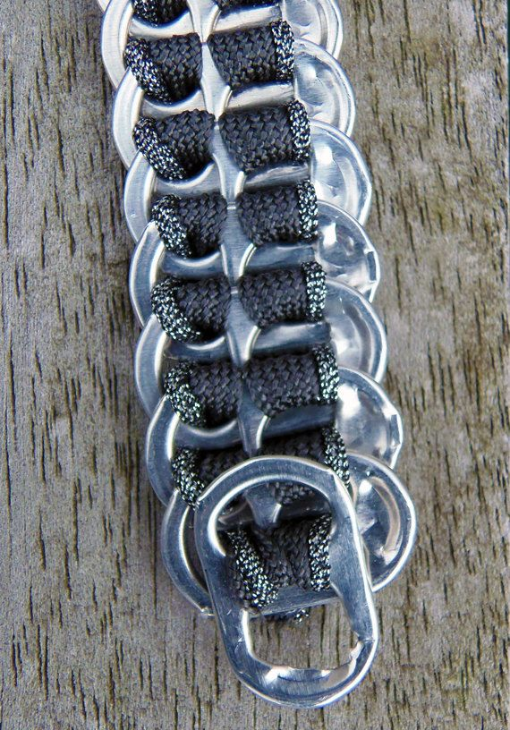 Flat pop tab bracelet with grey silver ribbon. €6.00, via Etsy.