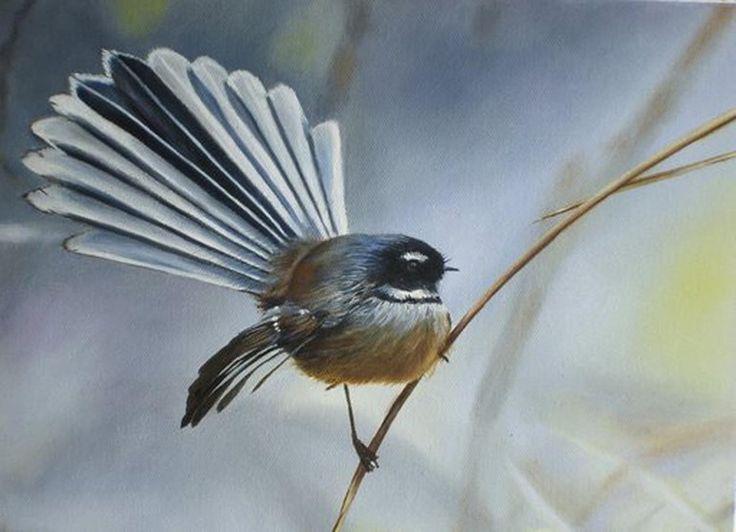 "Saatchi Online Artist: Victoria Heatherbell; Oil Painting ""Piwakawaka (New Zealand Fantail)"""