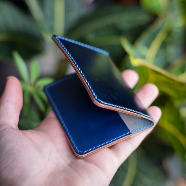 Custom cardholder in Navy Shinki Shell Cordovan with a hand dyed blue interior. The Cordovan hype is real.