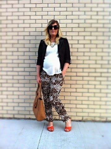 Hot Mama Mantra | Liv.vie In Love Black blazer, ivory tank, leopard print drawstring pants, orange sandals, statement necklace, a tan tote, and oversized sunglasses Maternity style, maternity fashion, pregnancy style, pregnancy fashion, baby bump style, baby bump, 31 weeks, ootd, wiwt, blogger, fashion stylist