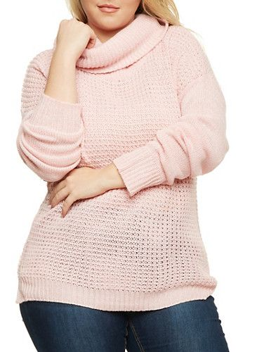 Plus Size Sweater with Cowl Neck,PINK