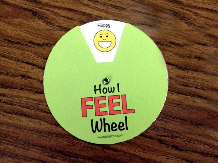 """How I Feel Wheel"" free printable chart helps kids dial up and display their emotions to help them become more aware of how they and others feel."