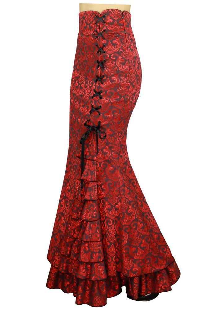 Gothic Victorian Red Mermaid Fishtail Corset Skirt Chic Star
