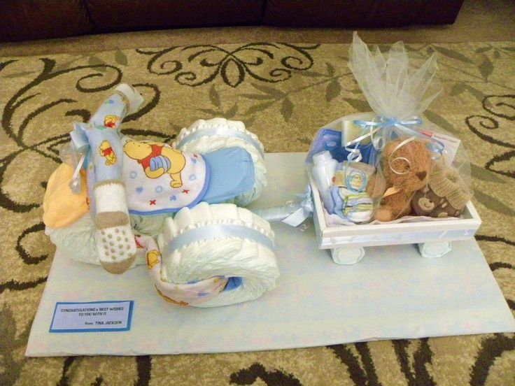 Baby Diaper Tricycle Instructions with Photos | This is a Diaper Tricycle and Wagon that I made for a Baby Shower I ...