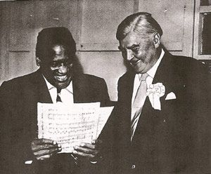 Two Working Class Heroes : Civil Rights activist, Paul Robeson with  Welsh politician & Socialist Nye Bevan in Wales,1958.