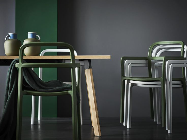 The chairs in the YPPERLIG collection are made with an injection mould using a single shot of liquid plastic. The shot takes about 30 seconds, and out comes a comfortable, sustainable, strong yet light chair. It's even certified for public use!