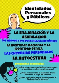This poster presents the Personal and Public Identities (Las Identidades Personales y Pblicas) theme for the AP Spanish and Language course. It outlines the subthemes and essential questions for this topic. The AP Spanish Language and Culture themes were developed by AP College Board.You are paying for ONE printable poster as shown in the thumbnail.