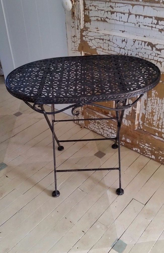 SALE Vintage Black Painted Ornate Metal Heavy Folding Table Shabby  Victorian #FrenchCountry