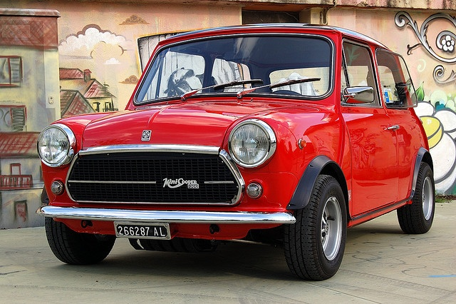 Mini Cooper classic.   Not sure what year it is but I think it needs  a stripe and some rally lights.