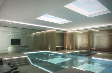 Computer generated image of a basement swimming pool for Basement swimming pool ideas