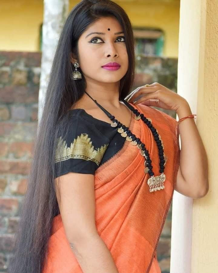Pin On Long Hair With Saree