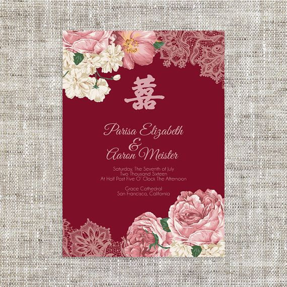 DIY Printable Editable Chinese Wedding Invitation Card Template Instant Download Elegant Maroon Peonies Floral Lace Double Happiness