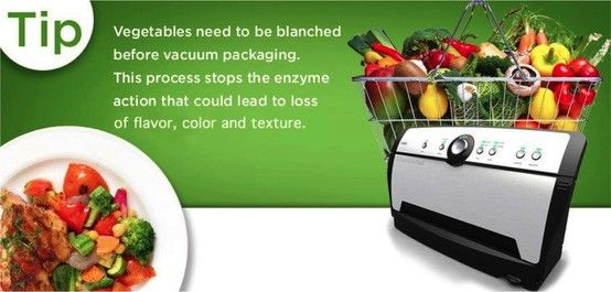 Vegetables need to be blanched before vacuum packaging. This process stops the enzyme action that could lead to loss of flavor, color and texture. #FoodSaver #VacuumSealer #Tips #Tricks
