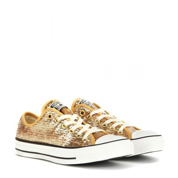 Converse Chuck Taylor All Star Sequin Sneakers ($83) ❤ liked on Polyvore featuring shoes, sneakers, sequin, gold, sequin sneakers, converse footwear, gold sequin sneakers, gold sneakers and sequin shoes