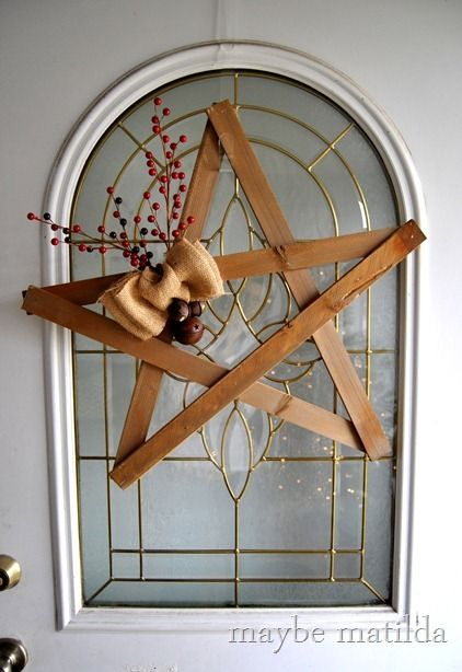 DIY Rustic Star Wreath - already made the star a long time ago -just need to add the berries and bow!
