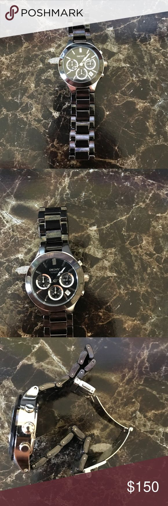 Dkny women's oversized watch black gunmetal color New without tags and box. Round 35 mm dial DKNY Accessories Watches