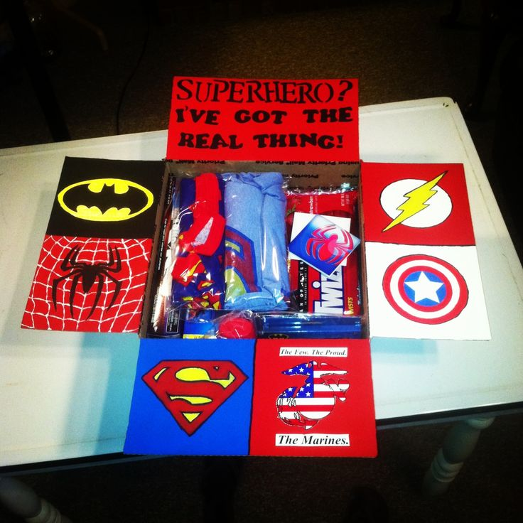 "Luke's 9th Care Package: ""Superhero? I've got the real thing"". Heroes featured - batman, spiderman, flash, captain america, superman, and the US MARINES! All the contents are superhero related."