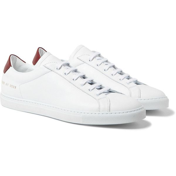 Common Projects Achilles Retro Leather Sneakers (5,550 MXN) ❤ liked on Polyvore featuring men's fashion, men's shoes, men's sneakers, mens leather tennis shoes, mens white tennis shoes, mens leather shoes, mens retro shoes and mens white leather shoes