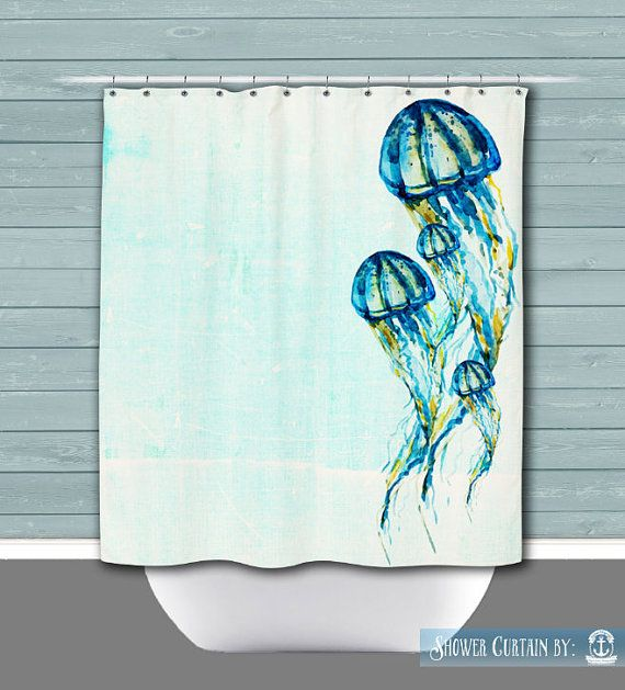 Jellyfish Shower Curtain: Nautical Teal Water by BrandiFitzgerald