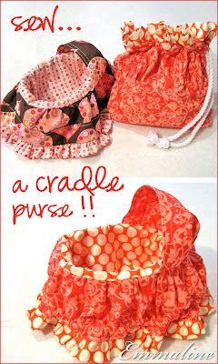 "Cradle purse. Tutorial fits a 6"" doll."