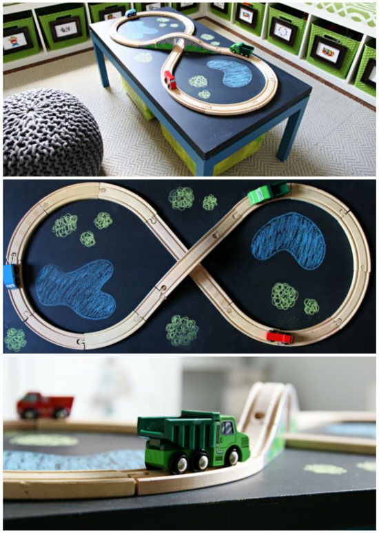 """Chalkboard table with train track ("""",)"""
