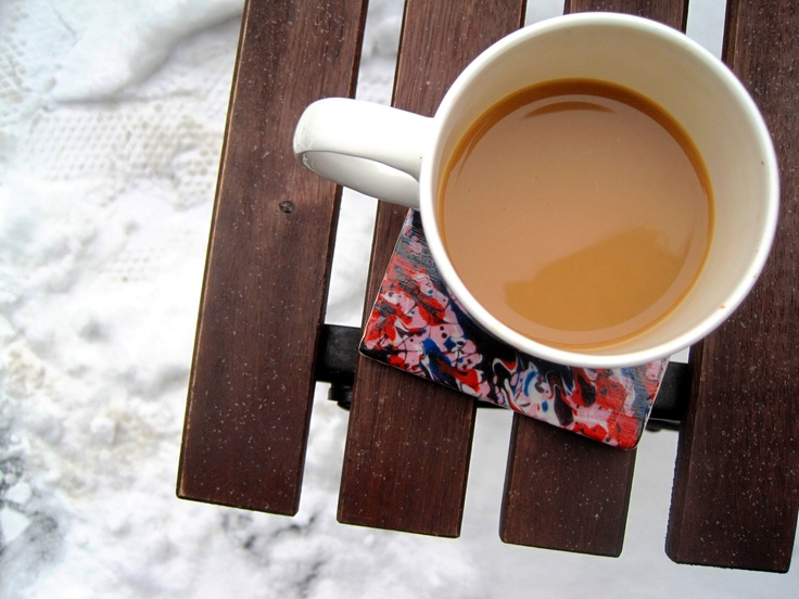 A cozy place for your warm drink on this cold day.  #snow #coffee #coaster #design