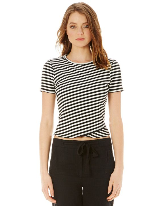 Stripe Cross Front Tee