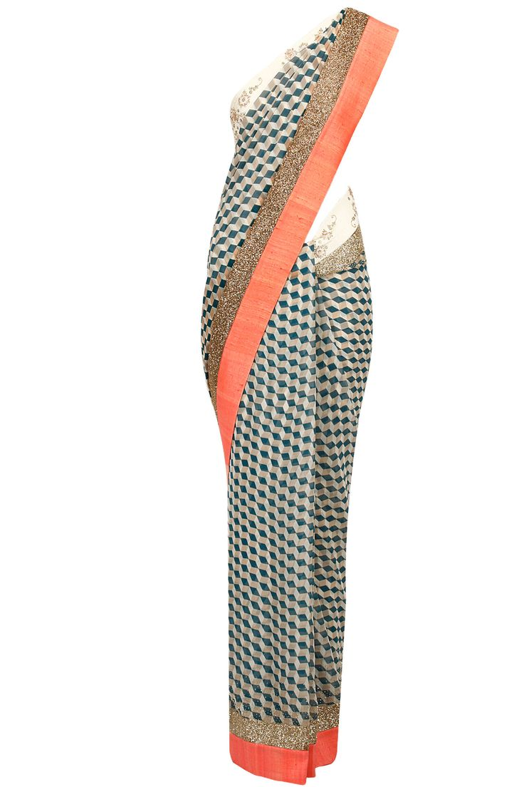 Cube print embroidered sari with cream blouse available only at Pernia's Pop-Up Shop.