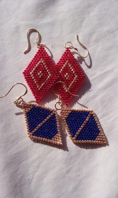 Brick stitched earrings for a private customer.