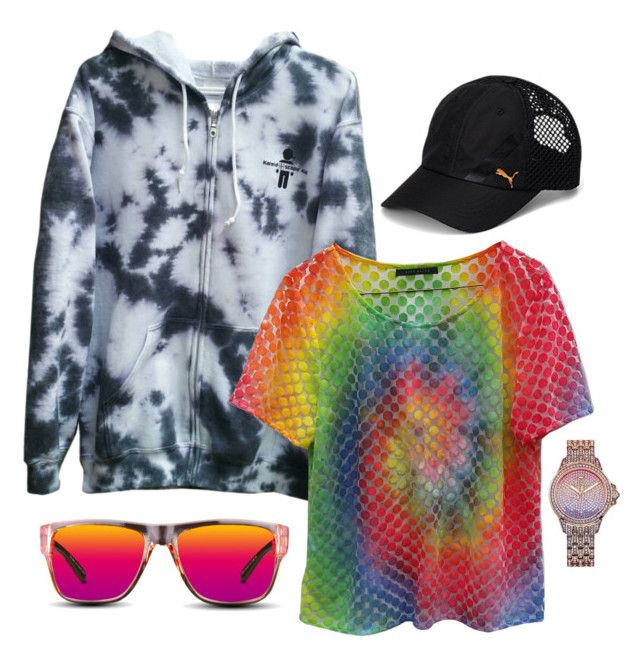 """""""Casual: rose gold & rainbows"""" by kaleidoscopekidco on Polyvore featuring GlassesUSA, Juicy Couture and Puma"""