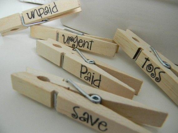 mail organization - clothespins