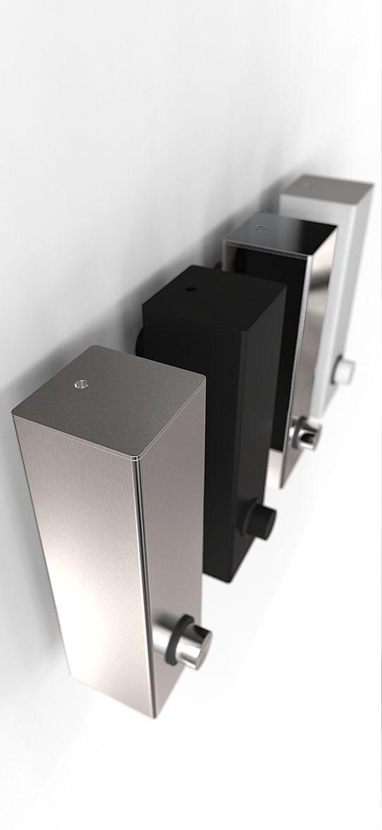 Frost Quadra vierkante zeepdispensers voor aan de muur. In zwart, wit, RVS en glans RVS.