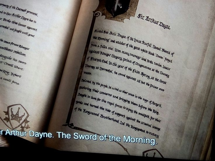 "Most important sceene in Game of Thrones: the Book of Brothers shown in Season 4, Episode 1 - Joffrey points at the entry about Sir Arthur Dayne of House Starfall, wielder of the great white blade ""Dawn"" forged from a fallen star"