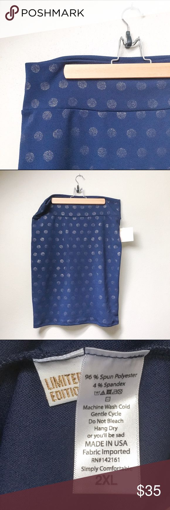 NWT LuLaRoe Cassie Skirt New with tags LuLaRoe Cassie skirt. Beautiful navy blue with subtle shimmering gold polka dots, this skirt is a LuLaRoe limited edition capsule piece. LuLaRoe's Cassie skirt is the most comfortable pencil skirt you'll ever wear, featuring a wide yoga-style waistband, and you can dress it up or dress it down with ease! LuLaRoe Skirts Pencil
