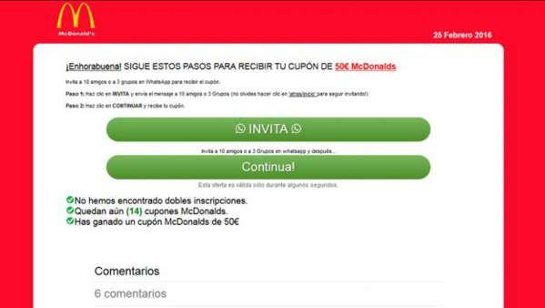 Nueva estafa en WhatsApp con cupones descuento de McDonalds