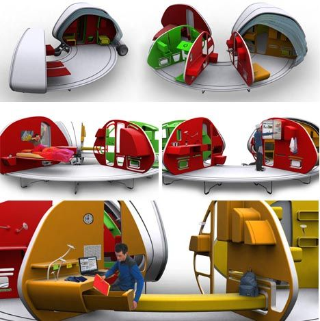 This amazing Open House portable home concept, a relatively small tow-behind, opens like an accordion  to reveal virtually any space you would want to have in your normal, stationary daily life. When folded open, each set of walls fits neatly with its opposing pair and are covered with opaque or transparent, ribbed flexible canopy.