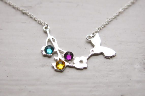Personalized Birthstone Hummingbird Necklace by whatanovelidea.etsy.com