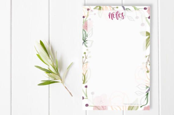 Notes Floral Girl Boss Get it Mom Stationary / Hand Lettered Notepad / Custom Notepad / To Do List / Checklist / Stationery / Teacher Gift