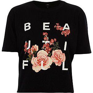 Zwart kort T-shirt met print, blote rug en ruches
