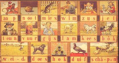 [the old-style image used in the schools  with pictures explaining the words]