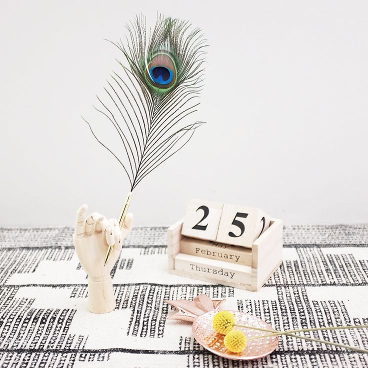 Mood Picture for l'Igloo / Peacock and Wooden Hand from Hay / Calendar and tray from Bloomingville .  © @mytrendbook