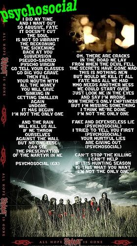 Slipknot - Psychosocial ❤ One of my absolute favorite songs! Love singing this song.