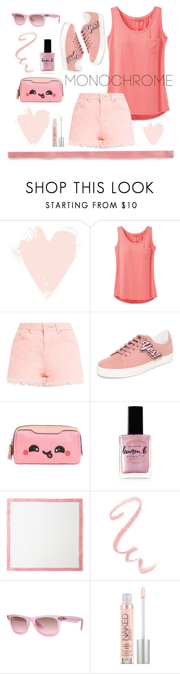 """Relaxed Pink"" by numeangeleyes on Polyvore featuring prAna, Anya Hindmarch, Lauren B. Beauty, Deborah Rhodes, Ray-Ban, Urban Decay and monochromepink"