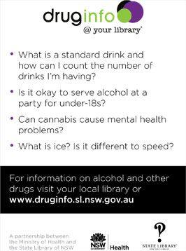 Back of drug info @ your library postcard