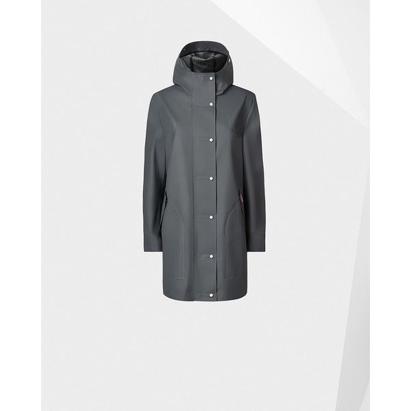 Hunter Womens Grey Rubberized Hunting Coat (440 AUD) ❤ liked on Polyvore featuring outerwear, coats, lined raincoat, sport coat, zipper coat, grey sports coat and grey coat