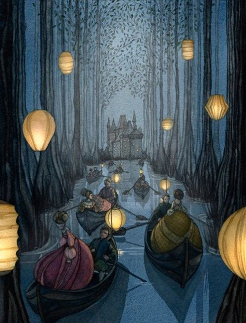 Reminds me of the 12 Princesses being rowed to the Palace Under Stone by their dark Princes