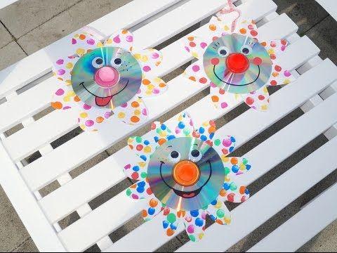Upcycling Funkelnde CD Blumen, Basteln mit KIndern - YouTube