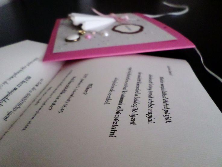 DIY, invitation, card, pearl, something, new, old, pink, white, bachelorette, heart, the day, wedding, vintage, meghívó, lánybúcsú, gyöngy, esküvő