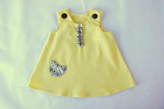 100% cert organic baby dress lemonorganic by OrganicMinikins
