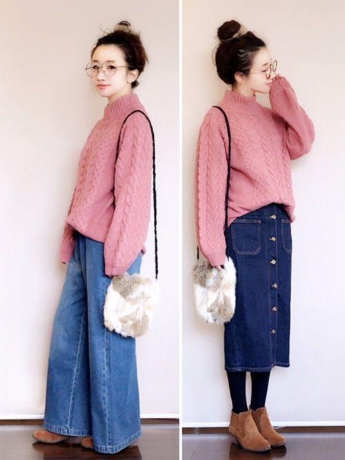陽さんの「お家で洗えてきれいがつづく ひとめ惚れミックスケーブルニットプルオーバー(haco!)」を使ったコーディネート ピンクニット コーディネート pink knit tops sweater outfit style coordinate